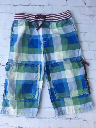 Mini Boden blue white and green checked shorts age 10 (fits age 9-10)